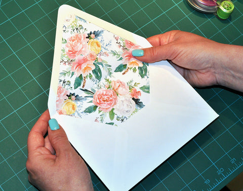 Open A7 Envelope with Floral Liner