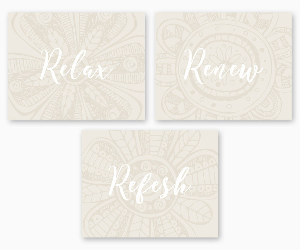 Relax Renew Refresh Bathroom Wall Art, Subtle Flowers Neutral