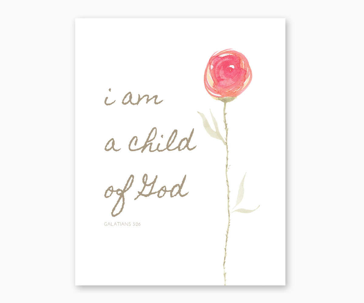 Bible Verse Wall Art- Galatians 3:26 I Am A Child Of God, Watercolor