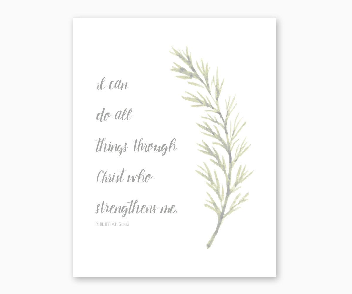 Bible Verse Wall Art, Philippians 4:13 I Can Do All Things Through Christ, Watercolor