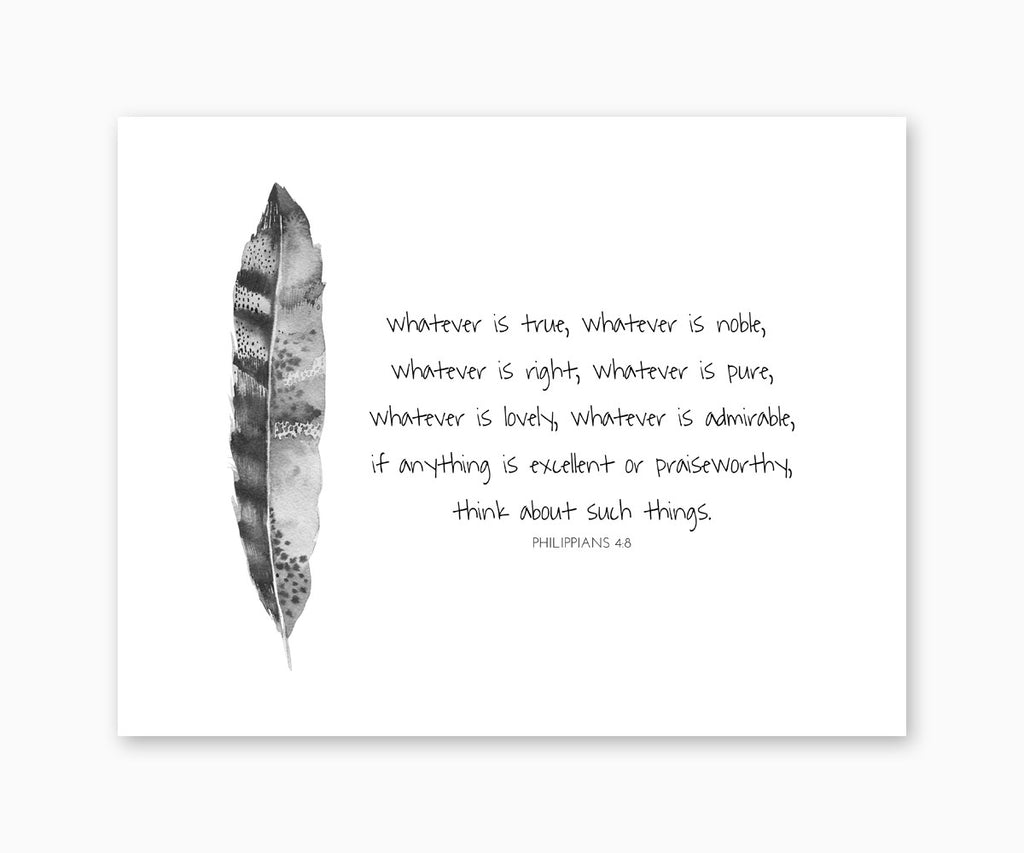 Bible Verse Wall Art, Philippians 4:8 Whatever Is True, Tribal Feather Design