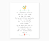 Bible Verse Wall Art, Psalm 121: 5-8, The Lord Watches Over You, Nursery Print with Girl Baby Bird