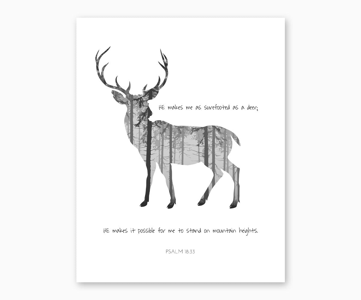Psalm 18:33 He Makes Me Surefooted As A Deer, Christian Scripture Wall Art
