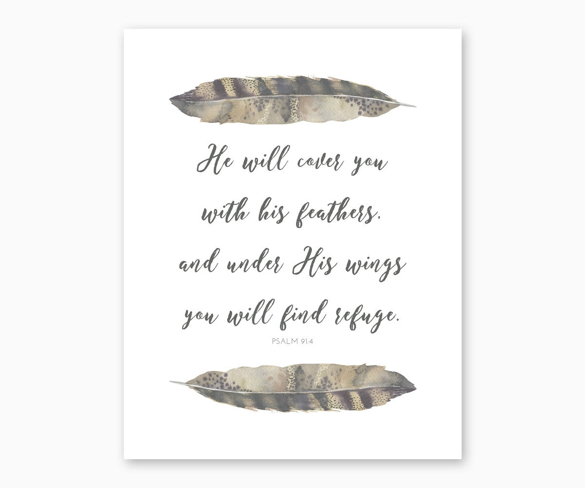 Psalm 91:4 Bible Verse Wall Art, He Will Cover You With His Feathers, Tribal Nursery