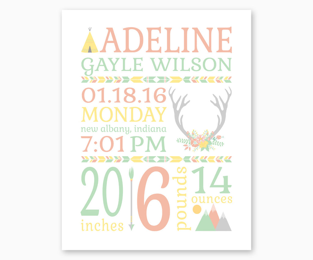 Tribal Boho Baby Birth Announcement Nursery Wall Art, Pastels