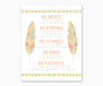 Tribal Nursery Wall Art Print, Be Brave Poem, Southwest Colors