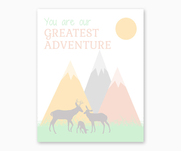 You Are Our Greatest Adventure Nursery Wall Art Pastel