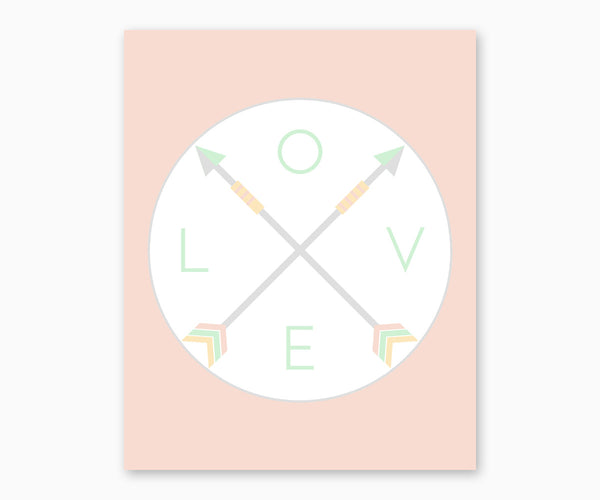 Love Tribal Arrows Nursery Wall Art  Pastel