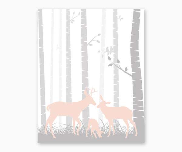 Deer Family Woodland Nursery Wall Art blush and gray