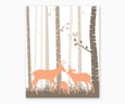 Deer Family Woodland Nursery Wall Art Taupe Apricot