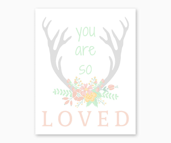 You Are So Loved Floral Deer Antlers Nursery Wall Art pastel