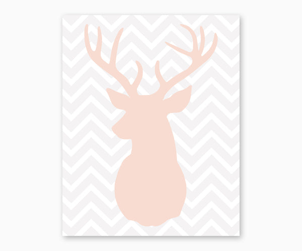 Deer Head with Antlers on Chevron Nursery Wall Art gray blush