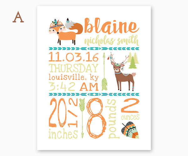 Fox and Deer Tribal Baby Birth Announcement Nursery Wall Art, Orange, Teal, Green