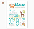 Fox and Deer Tribal Baby Birth Announcement Nursery Wall Art, Teal & Gray