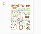 Fox and Deer Tribal Baby Birth Announcement Nursery Wall Art, Borwn, Green & Teal