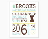 Woodland, Deer Baby Birth Announcement Nursery Wall Art, Blue and Brown