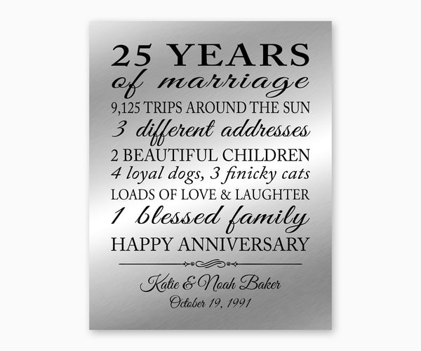 25th Anniversary Marriage Stats Wall Art