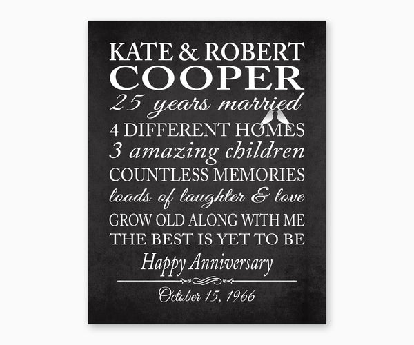 25th Anniversary Marriage Stats with Love Birds Wall Art