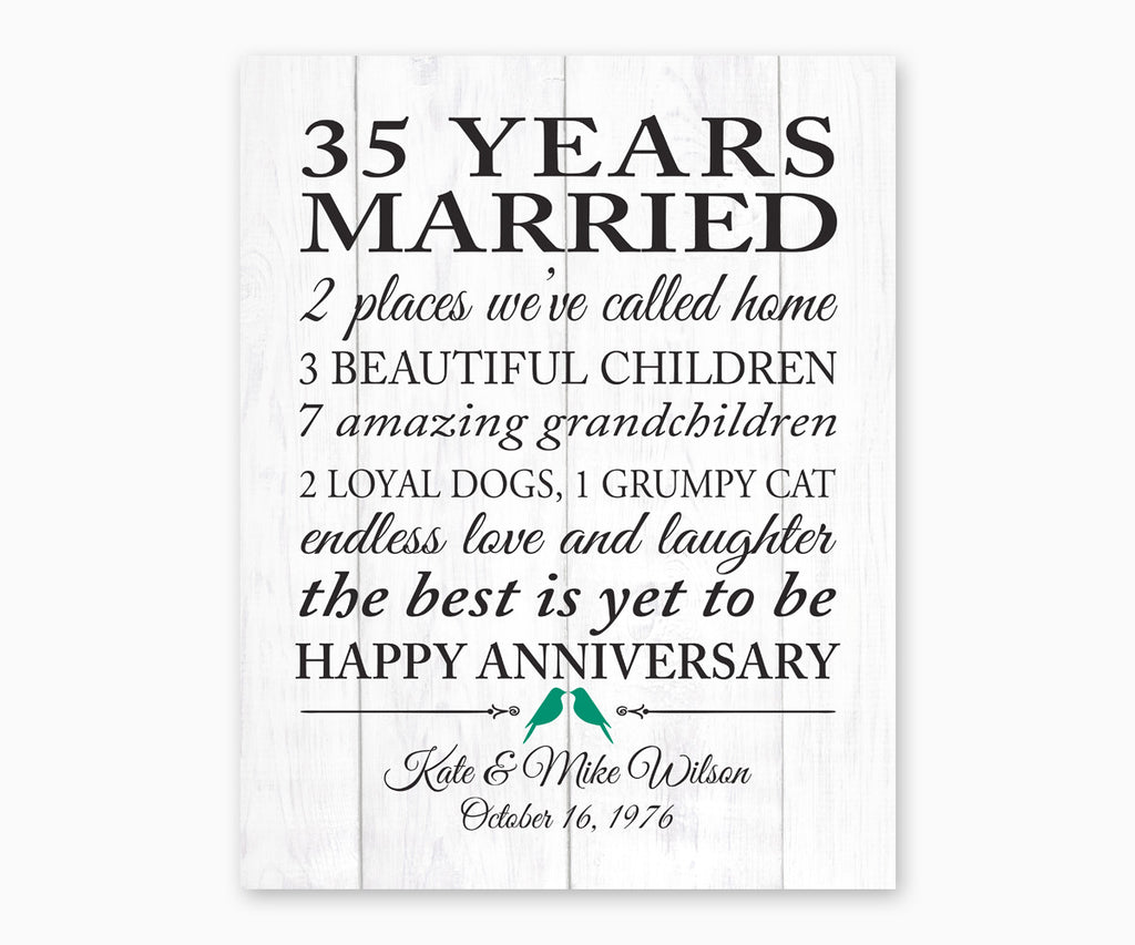 35th Anniversary Marriage Stats, Love Birds, White Faux Wood Wall Art