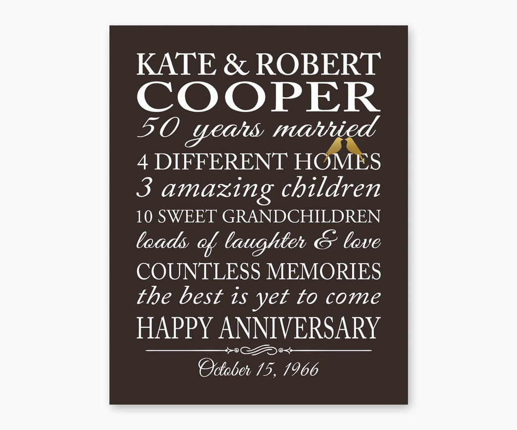 50th Anniversary Marriage Stats, Love Birds Wall Art, Solid background