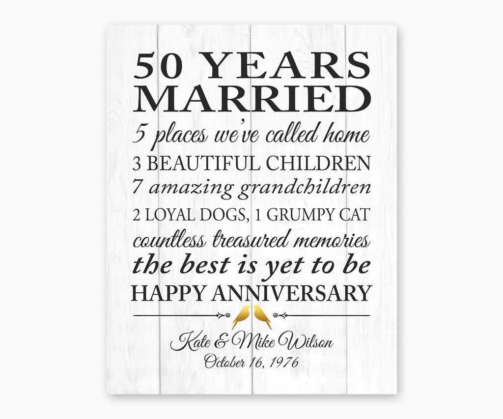 50th Anniversary Marriage Stats, Love Birds, Faux White Wood, Wall Art