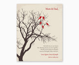 Love birds in anniversary family tree on winter white background