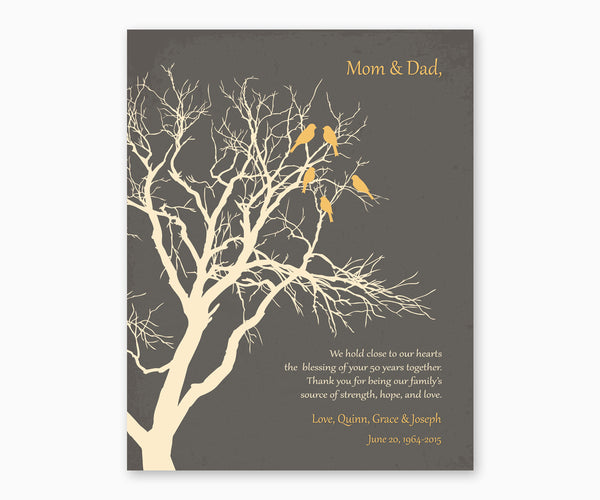 Love birds in anniversary family tree on gray background