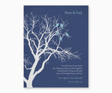 Love birds in anniversary family tree on blue background