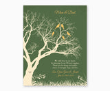 Love birds in anniversary family tree with initial hearts on green background