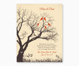 Love birds in anniversary family tree with initial hearts on cream background