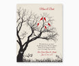 Love birds in anniversary family tree with initial hearts on winter white background