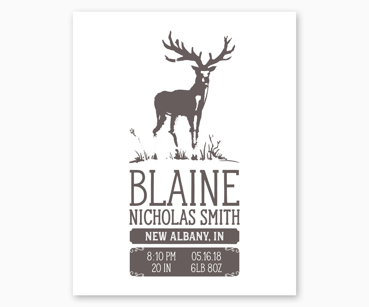 Deer Nursery Birth Stats print in gray