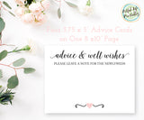 Advice Cards Printable, Advice and Wishes Cards