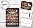 Oh Deer Baby Shower invitation, books for baby, diaper raffle and thank you card templates