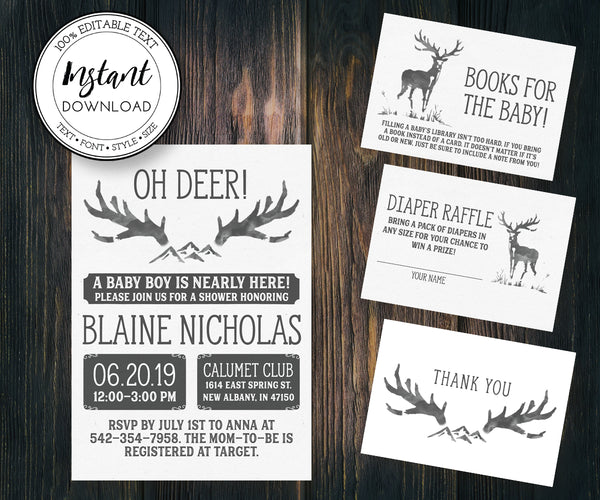 Oh Deer Rustic Baby Shower Invitation, diaper raffle, books for baby, thank you card