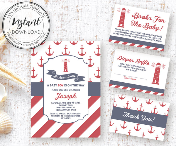Anchors Away Nautical Baby Invitation, Diaper Raffle, Books for Baby, Thank you Editable Templates
