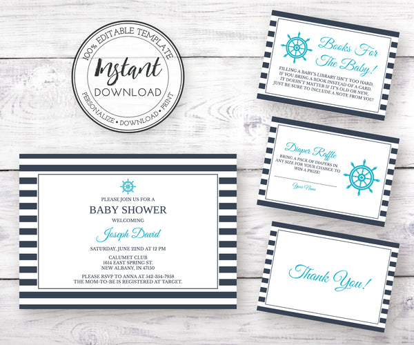 Nautical Baby Shower invitation, diaper raffle, books for baby, thank you card editable templates