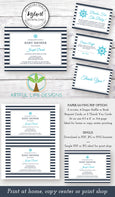 Nautical Baby Shower invitation, diaper raffle, books for baby, thank you card editable templates, Artful Life Designs