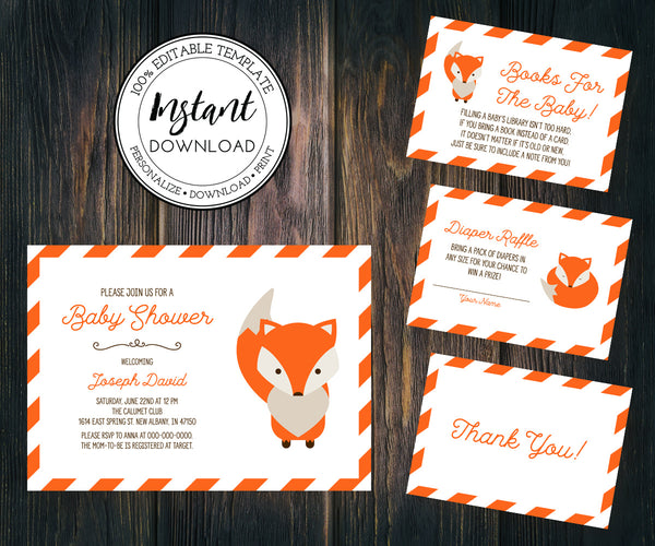 Fox Baby Shower Invitation, diaper raffle, books for baby, thank you editable templates