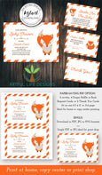 Fox Baby Shower Invitation, diaper raffle, books for baby, thank you editable templates, Artful Life Designs