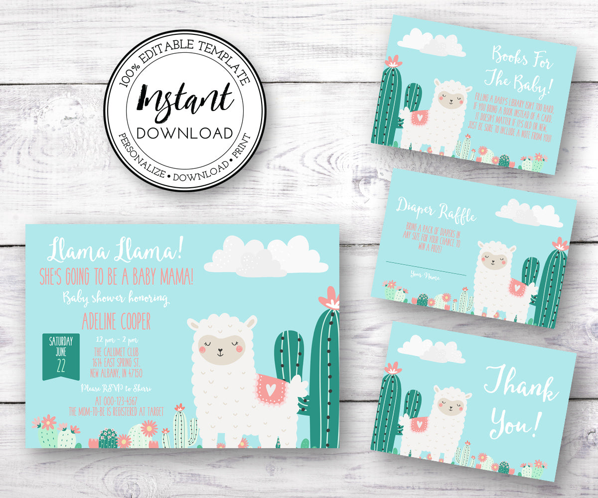 Llama baby shower invitation, diaper raffle, books for baby, Thank you card editable templates