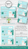 Llama baby shower invitation, diaper raffle, books for baby, Thank you card editable templates, Artful Life Designs