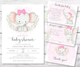 Elephant baby shower invitation set of templates, books for baby, diaper raffle and thank you card templates