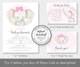 girl elephant with pink bow baby shower invitation set