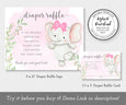 Girl elephant diaper raffle sign and card