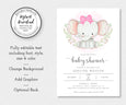 Editable elephant baby shower invitation template