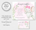 Editable elephant diaper raffle sign and card templates