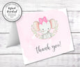 Pink Elephant baby shower thank you card template