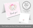 Baby Girl Elephant thank you card front and back templates