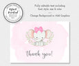 Editable baby girl elephant thank you note card template